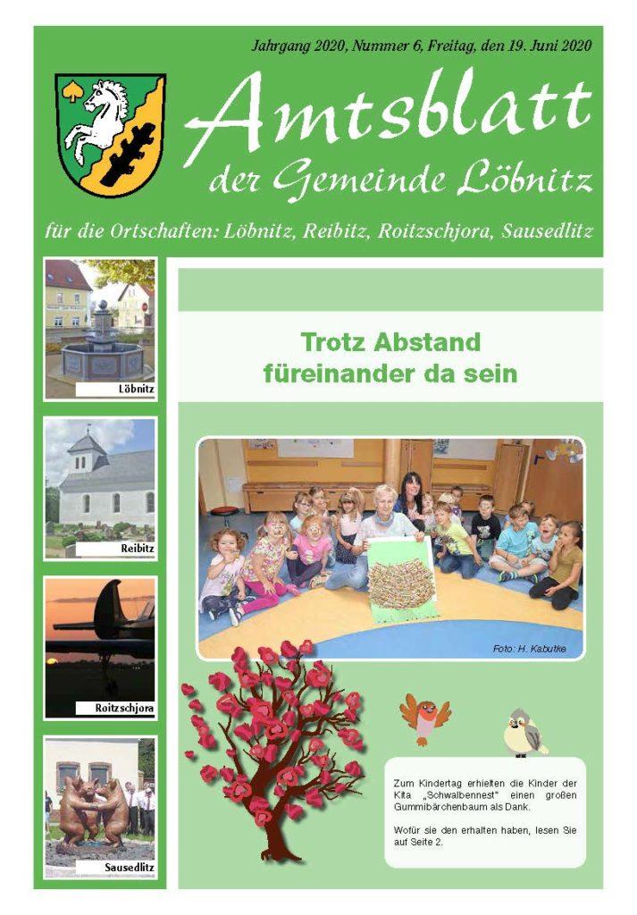 Amtsblatt Löbnitz Ausgabe Juni 2020 Bild Titelseite
