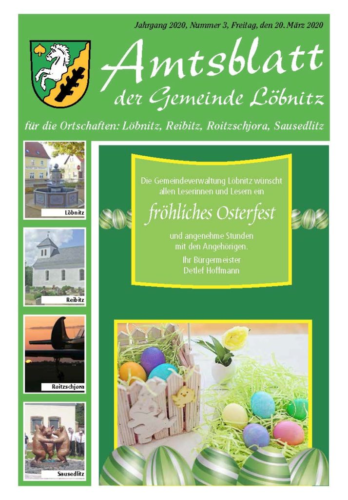 Amtsblatt Löbnitz Ausgabe März 2020 Titelseite