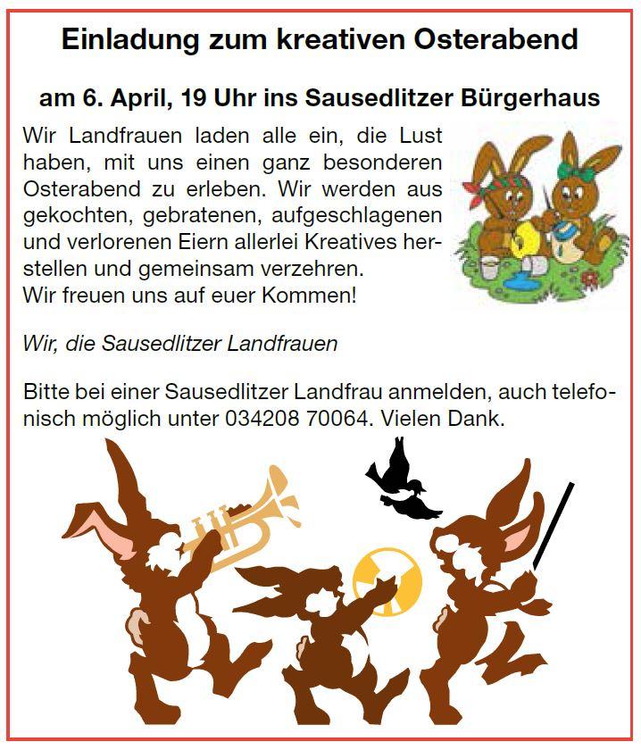Osterabend Sausedlitz 06.04.2020