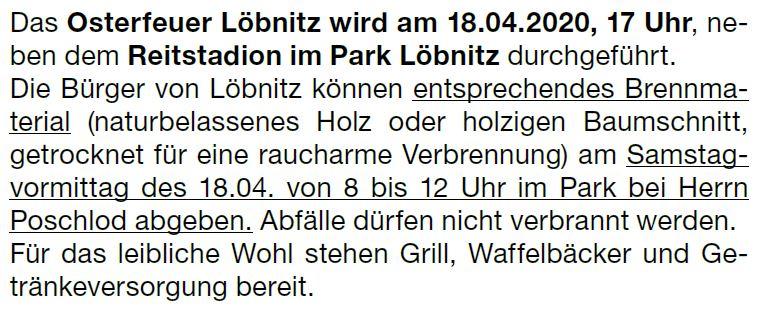 Osterfeuer Löbnitz 18.04.2020 1
