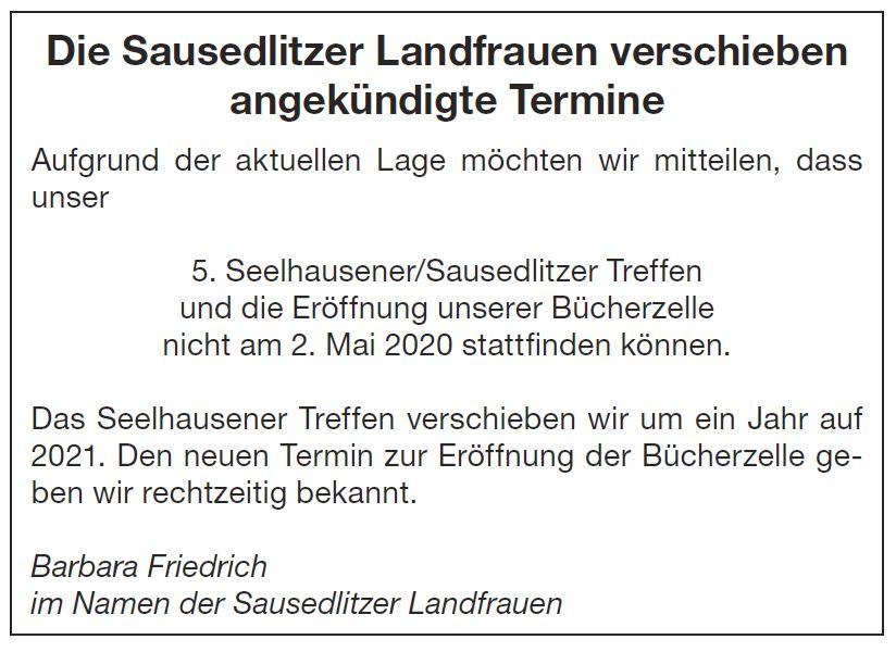 Sausedlitzer Landfrauen Sagen Ab