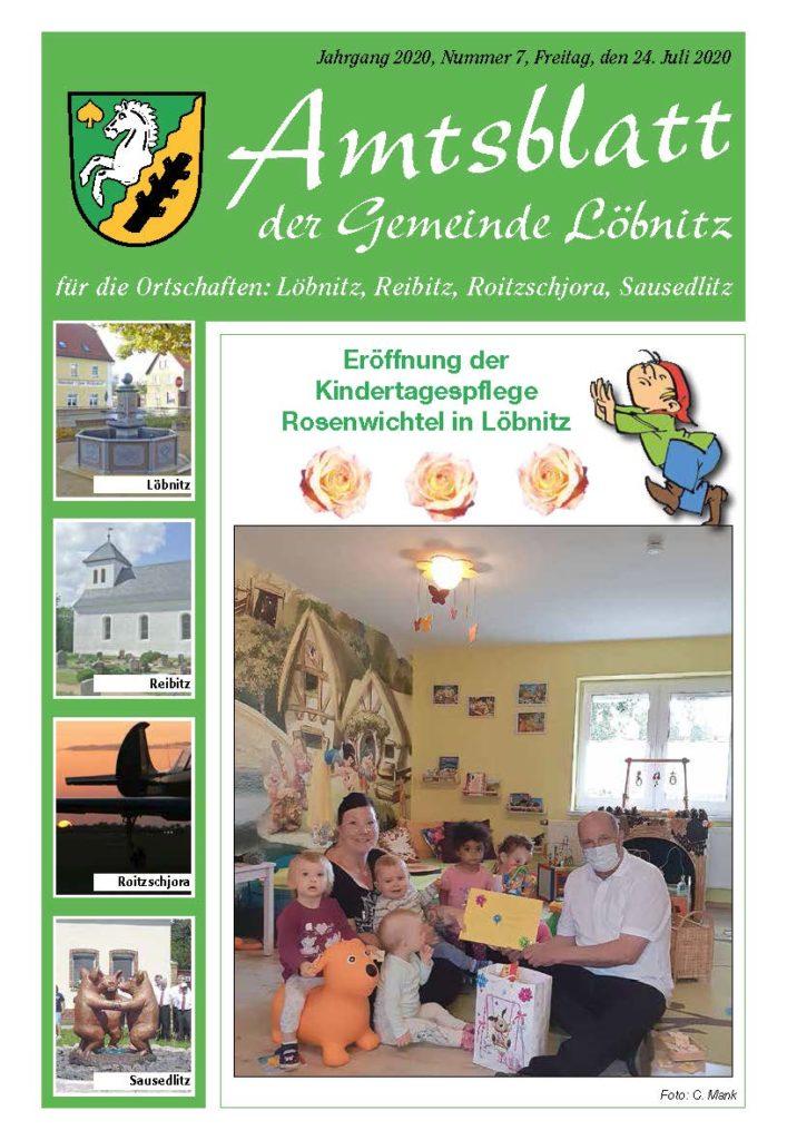 Amtsblatt Gemeinde Löbnitz Nr. 7 2020 Titelseite