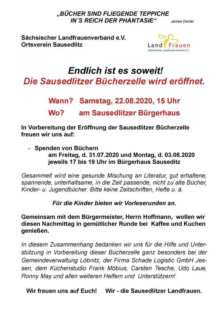 Lv Sausedlitz Einladung Bücherzelle 22 08 2020