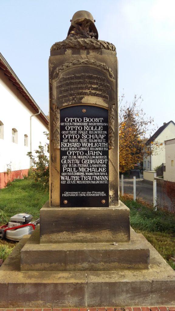 Denkmal Parkstraße Löbnitz 1. Weltkrieg 1