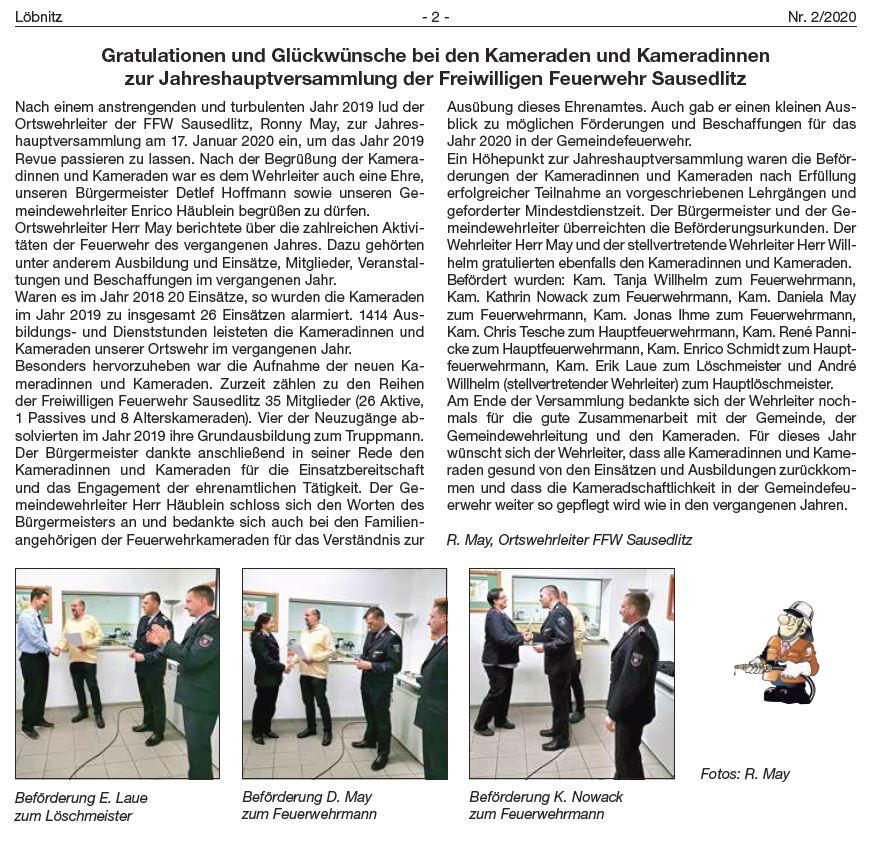 2020 02 Ausgabe Jhv Ffw Sausedlitz Ehrung