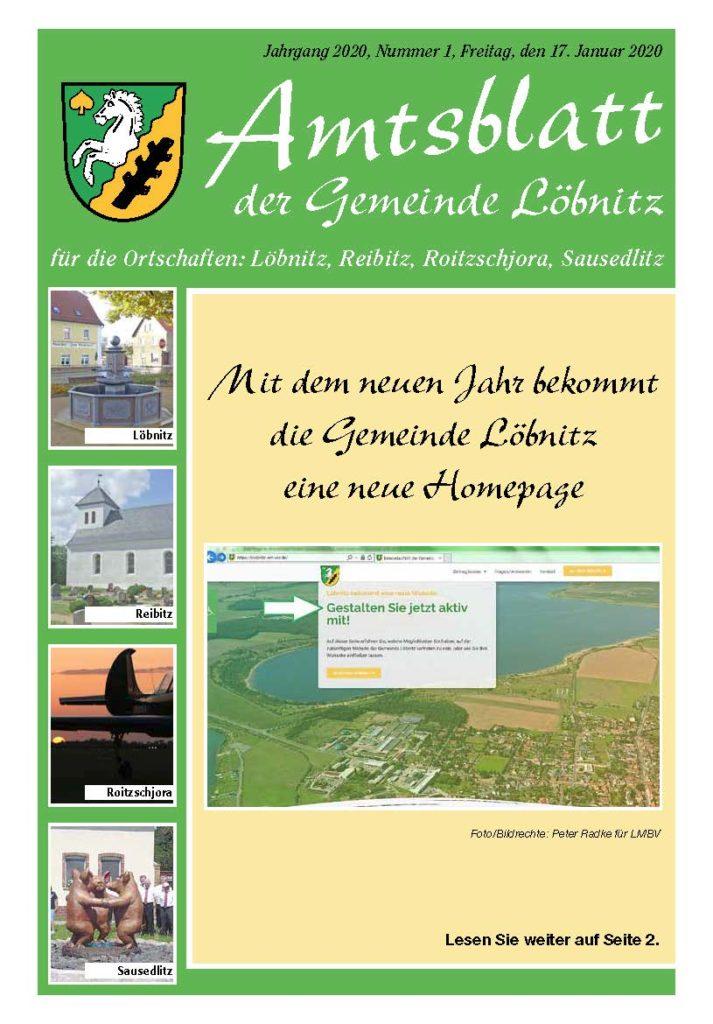 2020 01 17 Amtsblatt Nr.1 Titelblatt