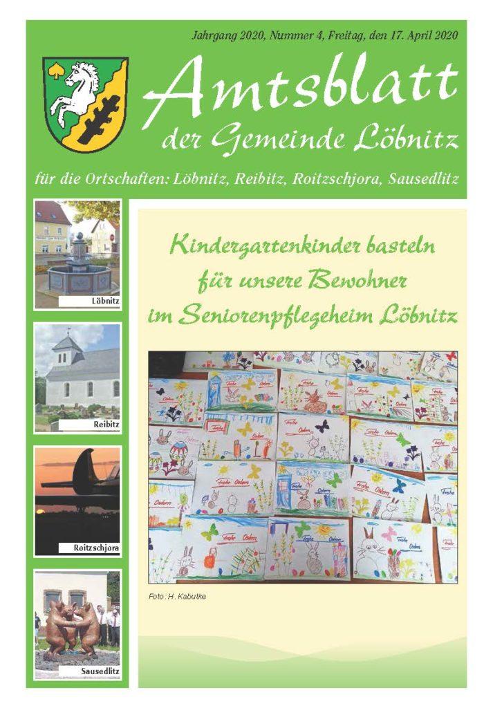 2020 04 17 Amtsblatt Gemeinde Löbnitz Ausgabe 4 2020 Titelseite