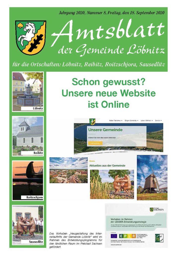 Amtsblatt Gemeinde Loebnitz Nr. 8 2020 Titelseite