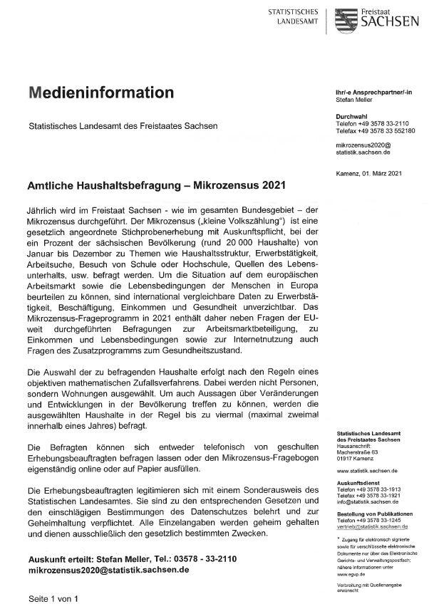 Amtliche Haushaltsbefragung Mikrozensus 2021