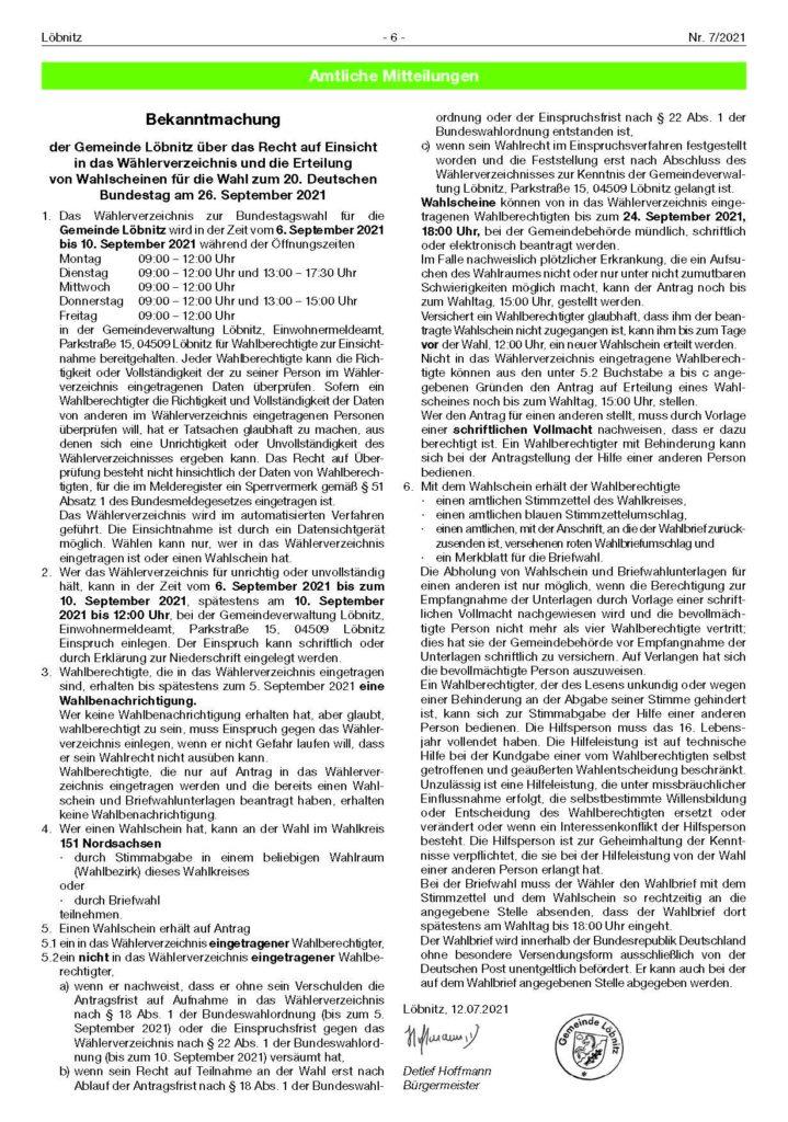 2021 07 23 Loebnitz Ausgabe 07 Seite 6 Wahl 2021